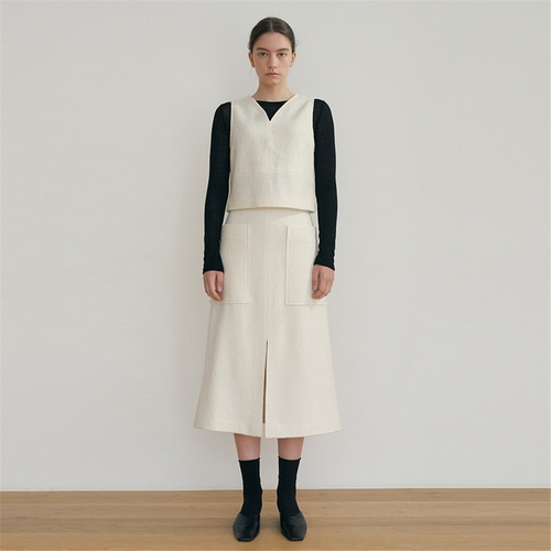 [블랭크03] wool slit pocket skirt_ivory