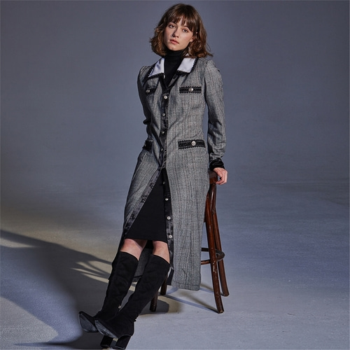 [와이제이] IRO CHECK COAT ONE PIECE