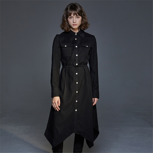[와이제이] SILVER BUTTON SHIRTS ONE PIECE_BLACK