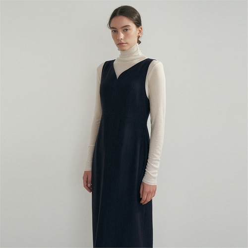[블랭크03] wool silhouette dress_navy