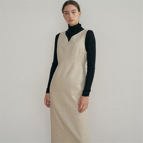 [블랭크03] wool silhouette dress_light beige