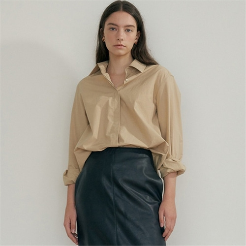 [블랭크03] boxy cotton shirt_beige