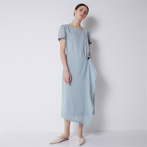 [비먼] square neck wrap dress_sky