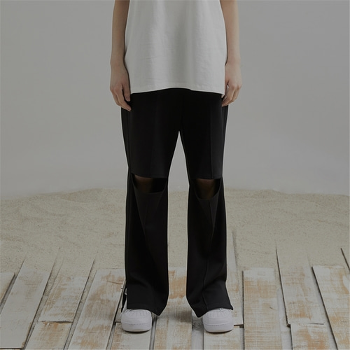 [END] KNEE CUTTING PANTS_BL