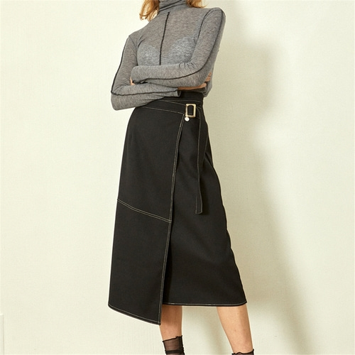 [블랭크] STITCH WRAP SKIRT_BK