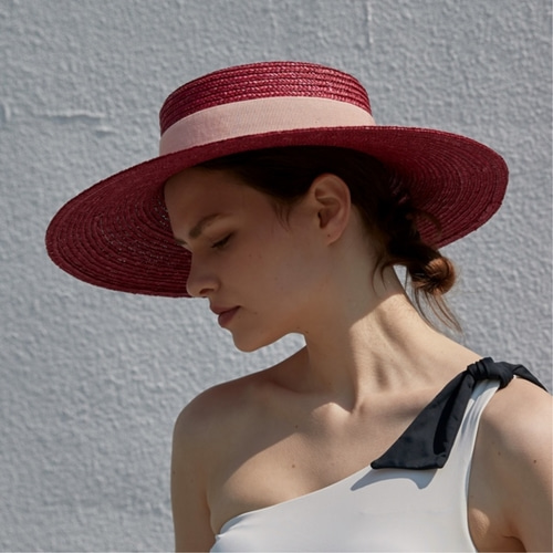 [LIBEMAHE] STRAW BOATER HAT_DEEP PINK