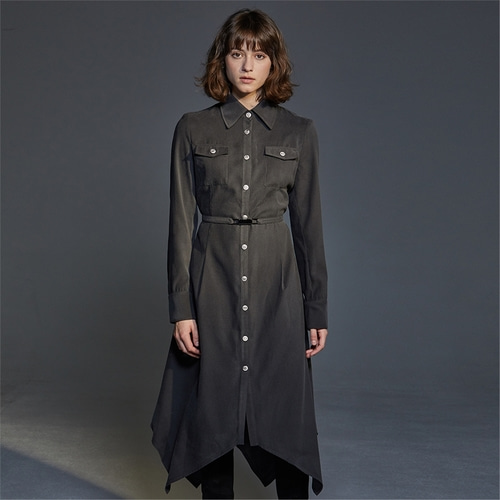 [와이제이] SILVER BUTTON SHIRTS ONE PIECE_GREY