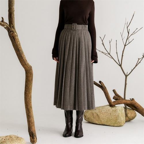 [나루강] Pleats Belted Herringbone Skirts_GY