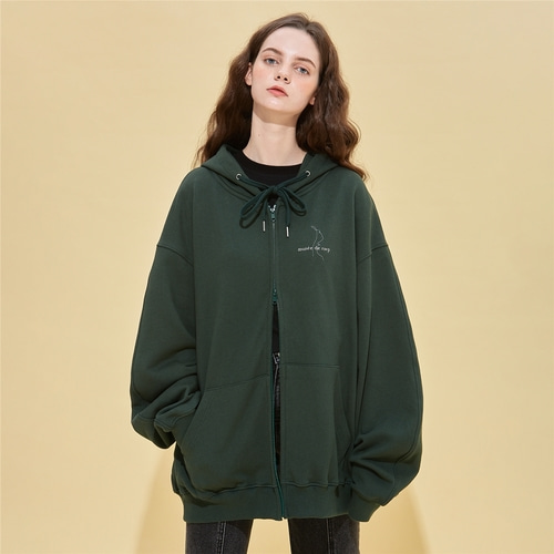 [RSVP] CONTOUR DRAWING HOODIE ZIP UP_GREEN