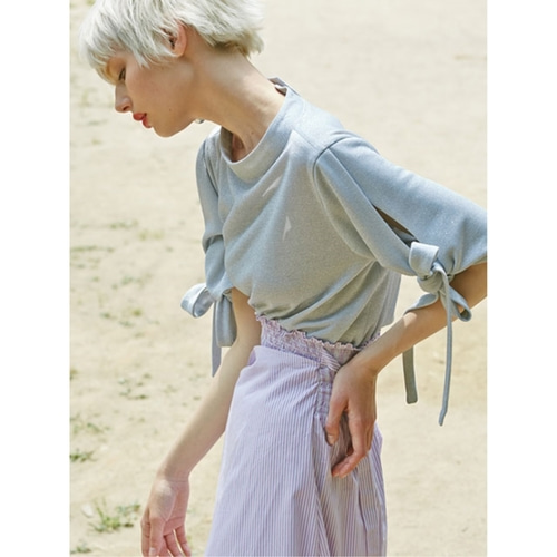 [2ndSWBD] RIBBON TIE TOP_SILVER