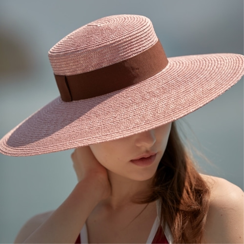 [LIBEMAHE] STRAW BOATER HAT_LIGHT PINK