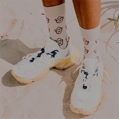 [230프로젝트] 230 FACE PATTERN SOCKS_BEIGE