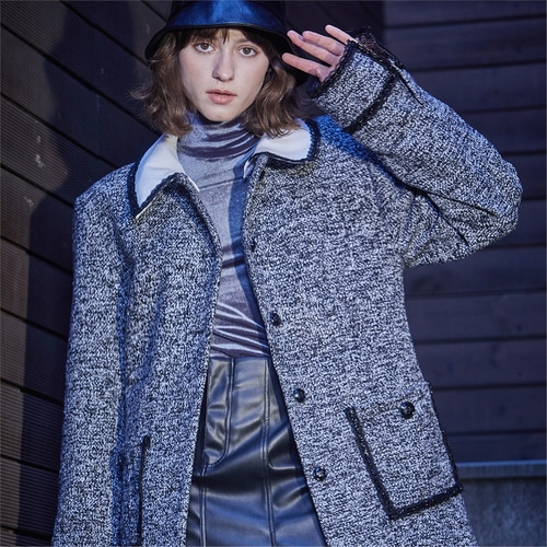 [와이제이] MOMA TWEED HALF COAT