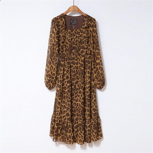 [나루강] Leopard Pintuck Dress_BR
