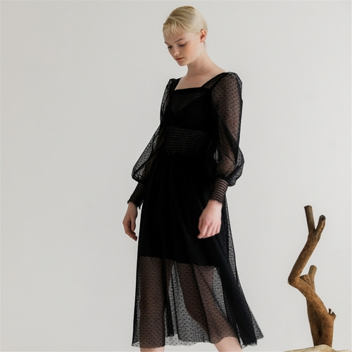 [나루강] Gesmokte Tulle Dress_BK