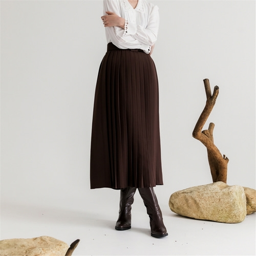 [나루강] Pleats Belted Skirts_BR