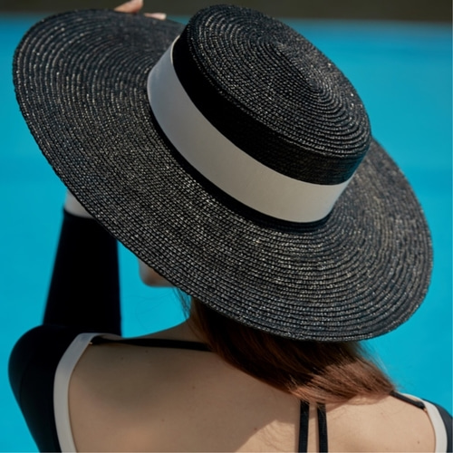 [LIBEMAHE] STRAW BOATER HAT_BLACK